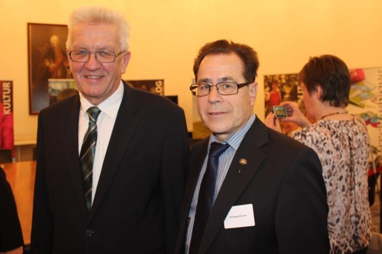 Unser Cheftrainer und Vereinsvorsitzender Wolfgang Brückel beim Neujahrsempfang des Ministerpräsidenten